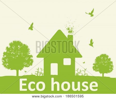 Landscape with green tree birds and house. Eco-friendly house concept.