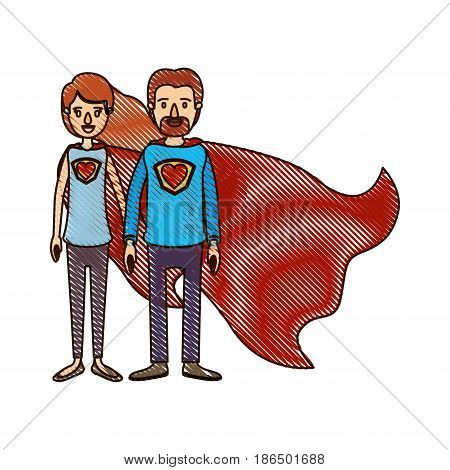 color crayon stripe cartoon full body couple super hero with heart symbol in uniform vector illustration