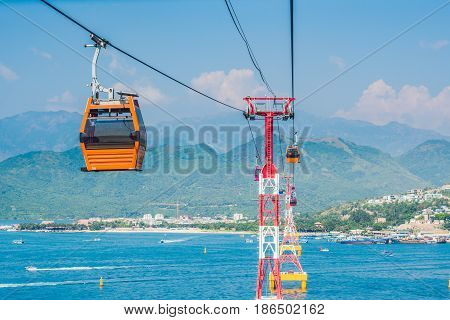 One Of The World's Longest Cable Car Over Sea Leading To Vinpearl Amusement Park, Nha Trang, Vietnam
