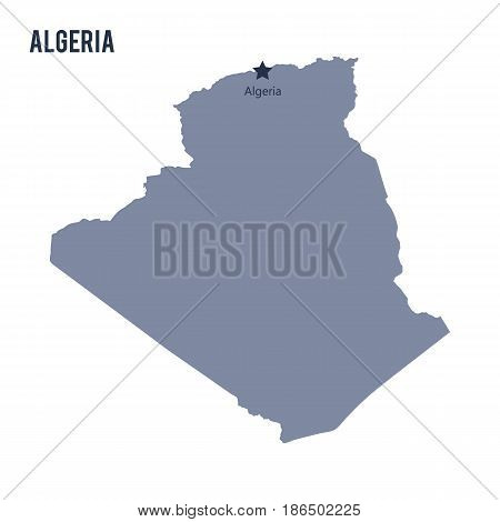 Vector map of Algeria isolated on white background. Travel Vector Illustration.
