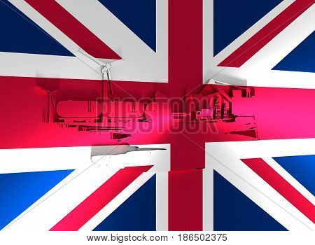 Energy and Power icons set and grunge brush stroke. Energy generation and heavy industry relative image. Agriculture and transportation. Flag of the United Kingdom. 3D rendering