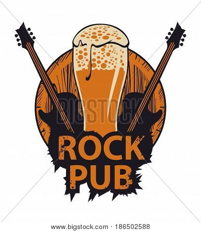 vector banner for the pub with live music.Illustration with a wooden keg beer glass guitars and words rock pub in retro style