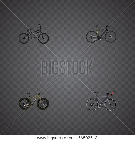 Realistic Extreme Biking, Bmx, Hybrid Velocipede And Other Vector Elements. Set Of Bike Realistic Symbols Also Includes Bmx, Hybrid, Bicycle Objects.
