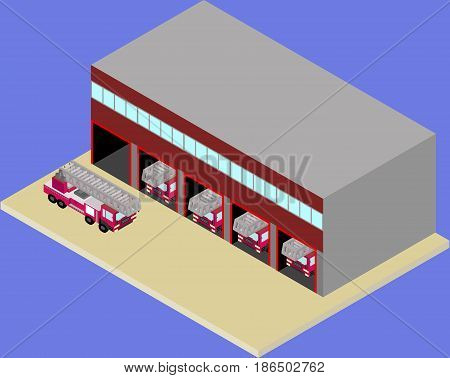 Isometric firehouse and fire truck in vector EPS 10