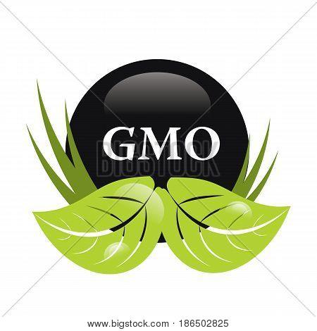 gmo free green and white vector sign logo symbol
