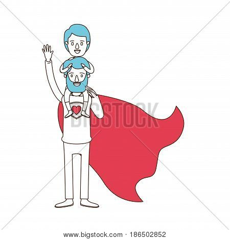 silhouette cartoon with color sections of full body super dad hero with boy on his back vector illustration