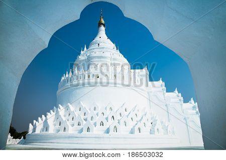 Wave-trraced Myatheindan  Hsinbyume Paya pagoda in Mingun, Mandalay region, Myanmar. (Burma)
