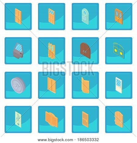 Door icon blue app for any design vector illustration