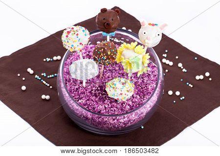 cake pops isolated on white background. colorfull cake pops on white background.