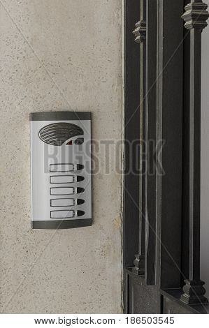 image of intercom on the wall background