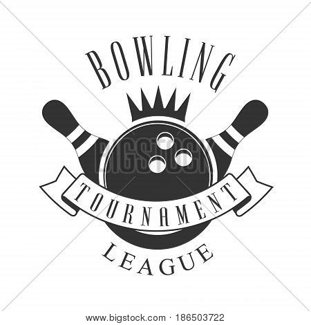 Bowling tournament league vintage label. Black and white vector Illustration for bowling club emblem, tournament, champion, challenge