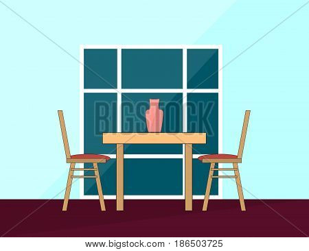 Romantic Dinner. Dining table and chairs for two people in Flat. Vector Illustration