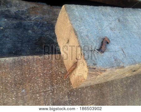 old wood broad with rustic nail .