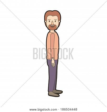 light color caricature thick contour full body male person with beard and moustache looking to side vector illustration