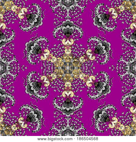 Seamless classic vector golden pattern. Traditional orient ornament classic vintage background. Seamless pattern on magenta background with golden elements.
