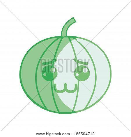 silhouette kawaii nice shy pumpkin vegetable, vector illustration design