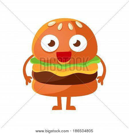 Funny burger with big eyes standing. Cute cartoon fast food emoji character vector Illustration isolated on a white background