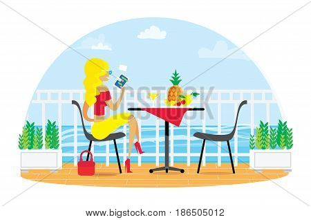 Beautiful blond woman. Chairs and Table on the terrace balcony in the restaurant View over the sea. Water landscape. Dinner Picnic with fruit. Pineapple. Flower. Drink.Fence. Flat vector.