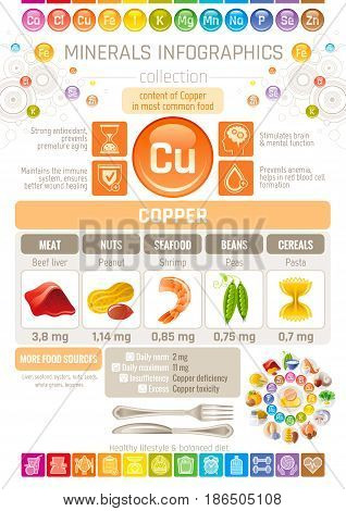 Copper Mineral supplements rich food icons. Healthy eating flat icon set, text letter logo, isolated background. Diet Infographics chart banner poster. Table vector illustration, human health benefit