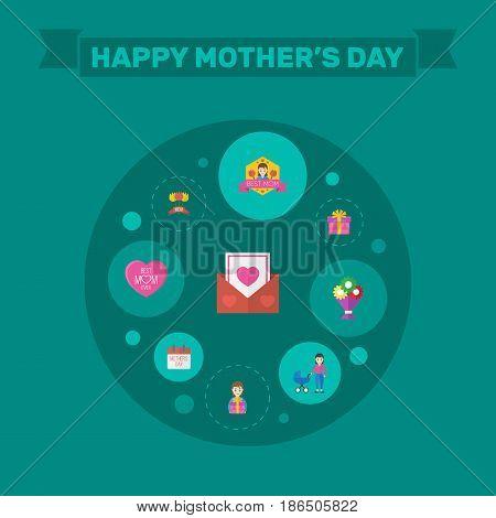 Happy Mothers Day. Flat Design Concept Includes Best Mother Ever, Stroller And Envelope Symbols. Vector Festive Holiday Illustration.