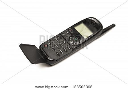 Mobile phone with buttons isolated on white. Old mobile phone - clamshell.
