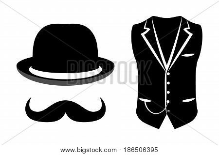 set of black and white vector items of a gentleman on a white background