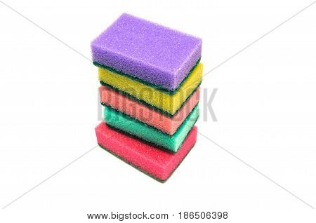 Sponges isolated. Color sponges on white background