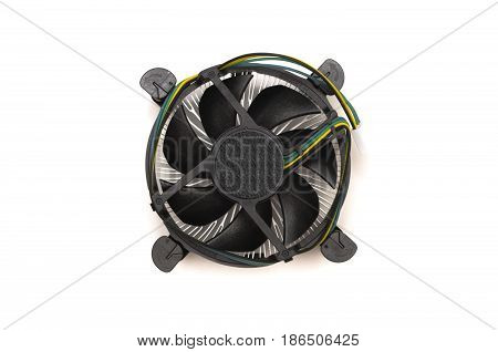 Computer cooling fan of CPU chip isolated.