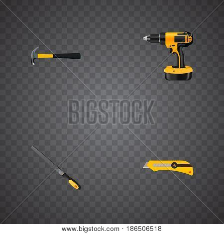 Realistic Electric Screwdriver, Sharpener, Claw And Other Vector Elements. Set Of Construction Realistic Symbols Also Includes Tool, Claw, Appliance Objects.