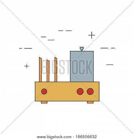 Hot Dog Toaster Isolated Line Icon.