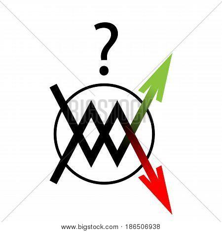 the round icon arrow on white background
