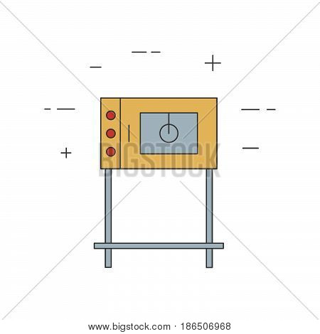 Commercial Oven Line Icon Isolated On A White Background.