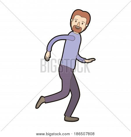 light color caricature thick contour full body male person with beard and moustache running vector illustration