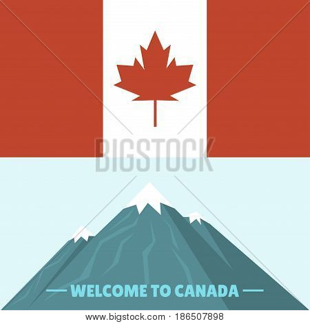 Canada country flag symbol maple leaf canadian freedom nation decoration vector illustration. Autumn nationality shape red white official national welcome mountain banner