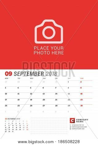 Wall Calendar Planner For 2018 Year. September. Vector Print Template With Place For Photo. Week Sta