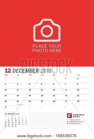 Wall Calendar Planner For 2018 Year. December. Vector Print Template With Place For Photo. Week Star