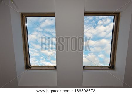 sky, clouds, roof window