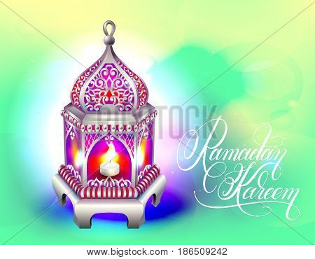 Ramadan Kareem greeting card with silver lantern and handwritten lettering on green abstract background, eps10 vector illustration
