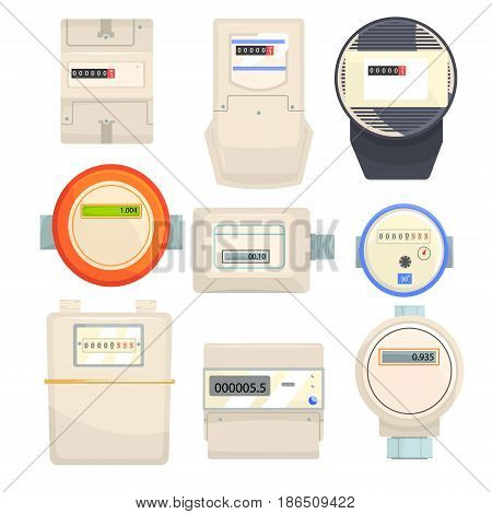 Set of meters, mechanical and electronic counters vector Illustrations isolated on a white background