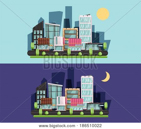 cartoon town, residential buildings, shops and cafes. City flat style.