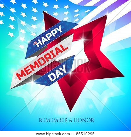 Happy Memorial Day Greeting Card With National Flag Colors Ribbon And Red Star On Colorful Backgroun