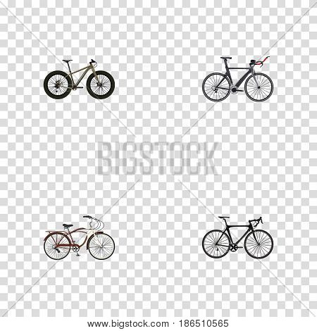Realistic Bmx, Journey Bike, Competition Bicycle And Other Vector Elements. Set Of Bicycle Realistic Symbols Also Includes Triathlon, Cruise, Bike Objects.