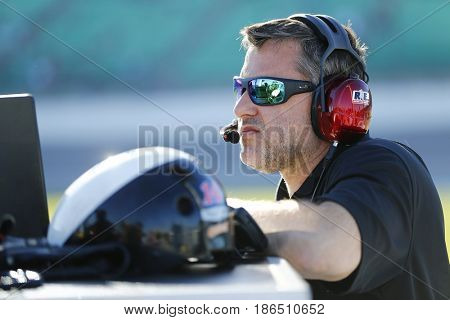 May 12, 2017 - Kansas City, Kansas, USA: Tony Stewart, owner of Stewart-Haas Racing hangs out on pit road during qualifying for the Go Bowling 400 at Kansas Speedway.