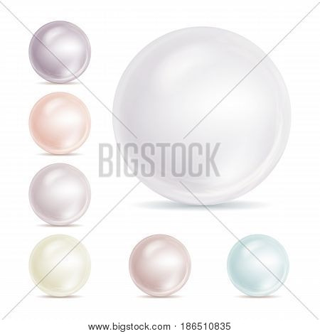 Realistic Pearls Isolated Vector. Sphere Shiny Sea Peach Cream Pearl Illustration