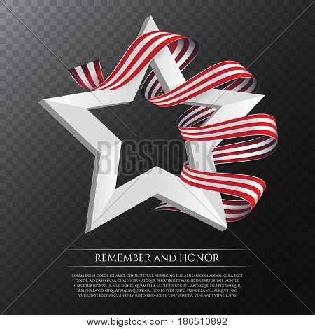 Happy Memorial Day Greeting Card With National Flag Colors Ribbon And White Star On Transparent Back