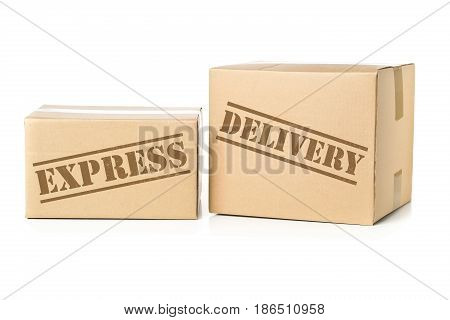 Two corrugated cardboard carton parcels with Express Delivery imprint