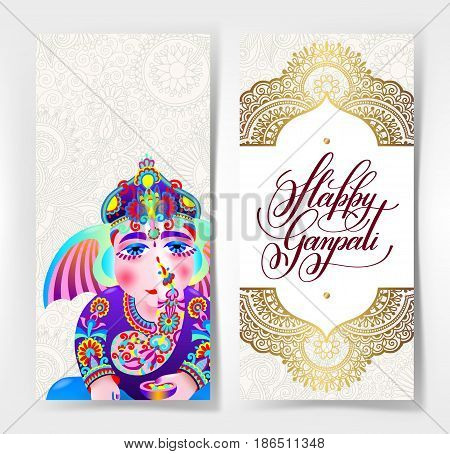 happy ganpati greeting card design with ganesha drawing, hand lettering inscription on gold floral decorative pattern, vector illustration