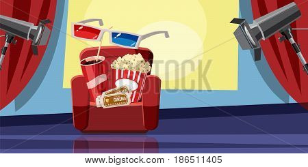 Cinema movie corn icons set. Cartoon illustration of 16 cinema movie corn vector icons for web