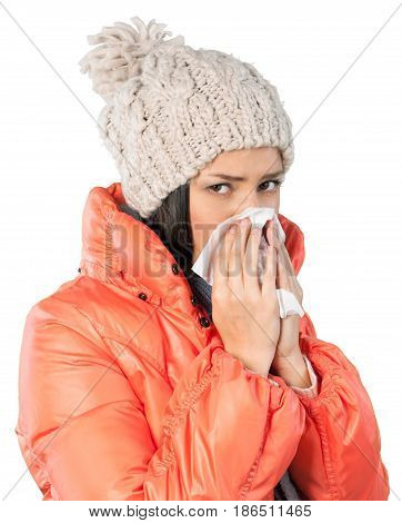 Young Woman In Winter Clothes Blowing Nose Close-up - Isolated