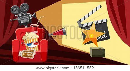 Cinema movie award icons set. Cartoon illustration of 16 cinema movie award vector icons for web